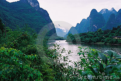 River and the mountain.