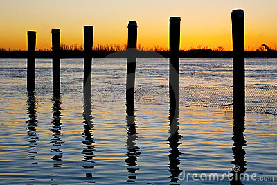 River Posts at Sunset