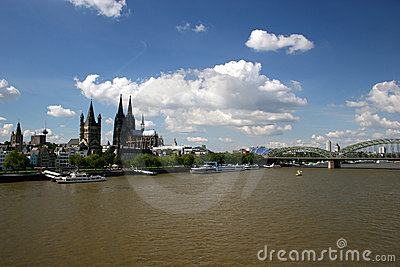 River Rhine and cathedral of Cologne