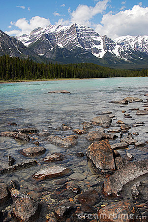 River and rocky mountains