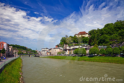 The river Salzach in Salzburg