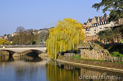 The river Sarthe at Le Mans in France