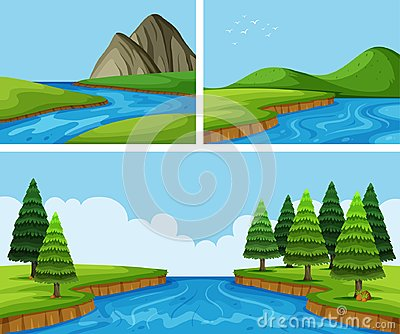 River scenes with pine trees Vector Illustration