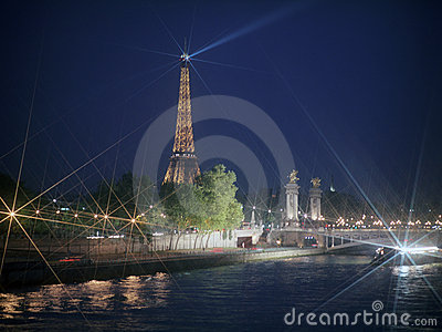 River Seine with Eiffel Tower at night. Editorial Image