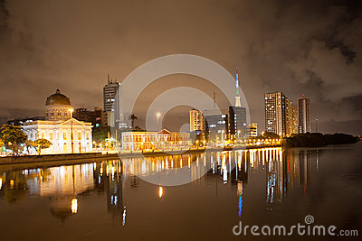 River side of Recife by night
