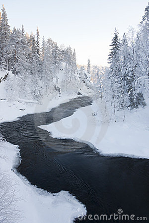 A river on a snowy landscape