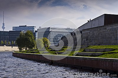 River Spree next to the buildings