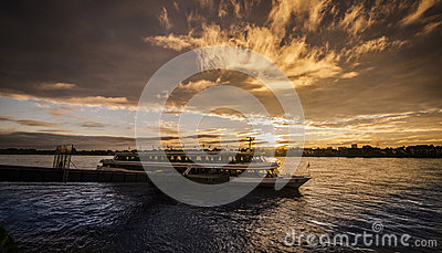 River sunrise, turistic ship Editorial Stock Photo