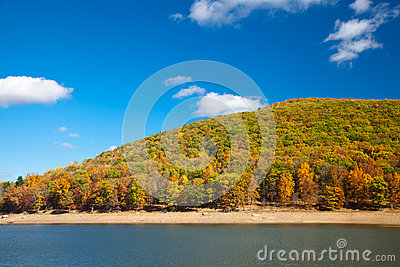 River surrounded by Autumn forest mountains