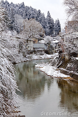 River Surrounded with Snow