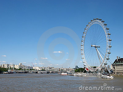 River Thames and the London Eye Editorial Stock Image