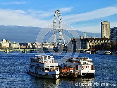 River Thames & London Eye Editorial Photo