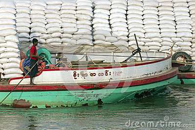 Cargo Boat - Irrawaddy River - Myanmar (Burma) Editorial Stock Image