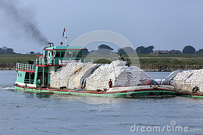 River Traffic - Irrawaddy River - Myanmar (Burma) Editorial Stock Photo