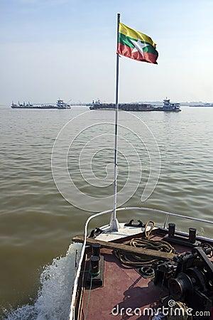 River Traffic - Irrawaddy River - Myanmar (Burma)