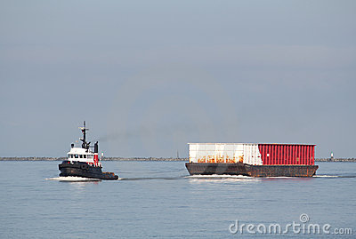 River Tug Boat Towing Barge