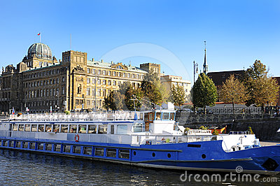 River Vltava and city of Prague. Europe.