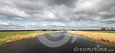 River Water Storm Clouds Panorama Panoramic Banner