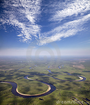 Free River Which Doing Loops In The Forest Stock Photography - 20226362