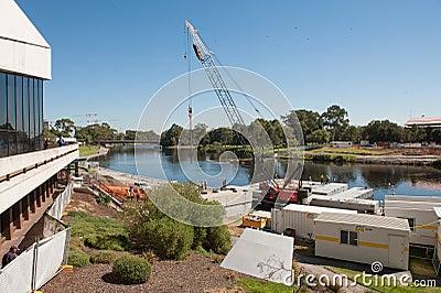 Riverbank Footbridge construction Editorial Photo