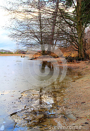Riverbank with thin ice edge