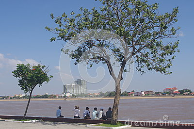 Riverfront in Phnom Penh Editorial Photo