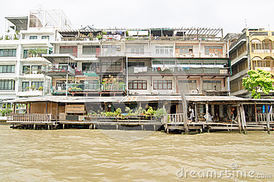 Riverside Apartments, Bangkok Editorial Stock Photo