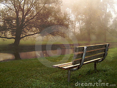 Riverside Bench in Fog