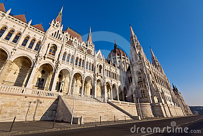 Riverside of the hungarian Parliament in Budapest