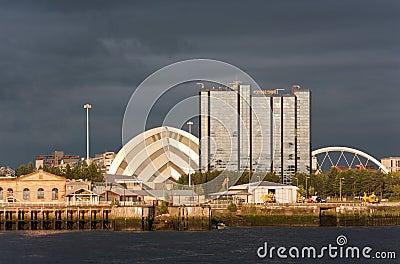 Riverside landmarks at sunset in Glasgow, Scotland