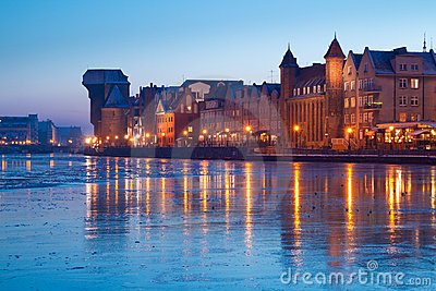 Riverside of old town in Gdansk at dusk