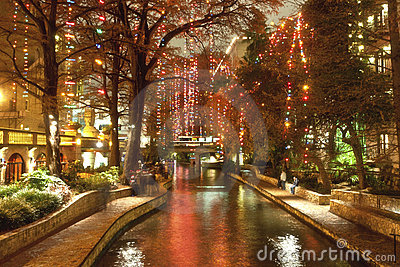 Riverwalk  in San Antonio at night at holidays