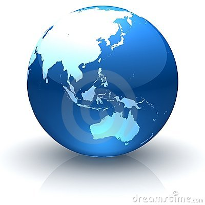 Rivestimento lucido Asia, Oceania ed Australia del globo