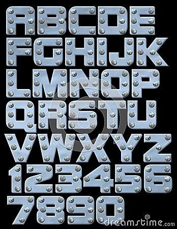 Riveted block alphabet