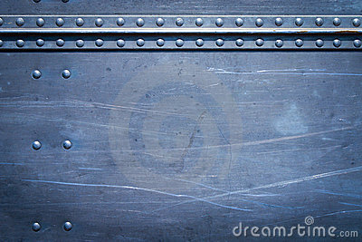 Rivets on metal