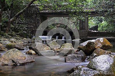Rivulet and stone bridge in Shing Mun Reservoir