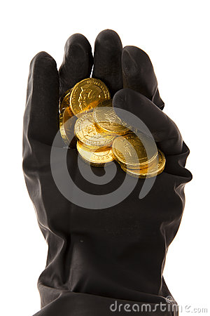 Ręka z monetami