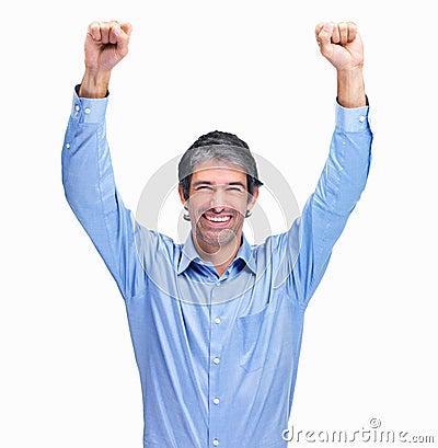 Ręki odizolowywali mężczyzna podnoszącego sukcesu whi
