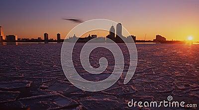 Río de hudson congelado, Nueva York