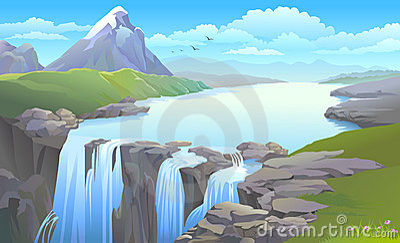 Río de la montaña que da vuelta en una cascada