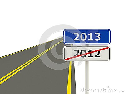 Road with 2013 New Year sign
