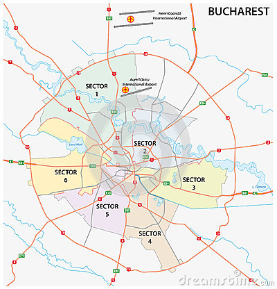Road administrative map of the Romanian capital Bucharest Vector Illustration