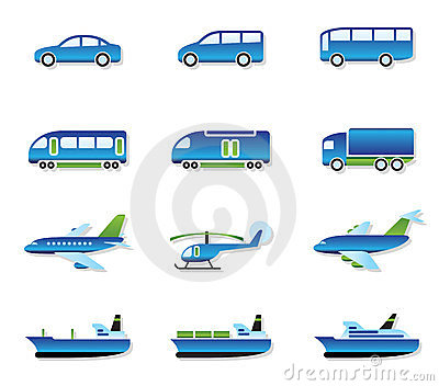 Road, air, rail and water transport