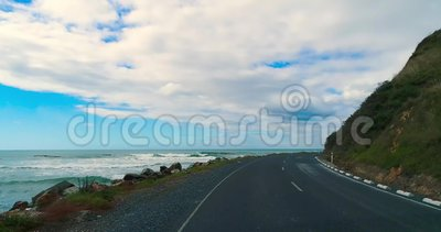 Road along the coastline of the ocean. Shevelev. stock video footage