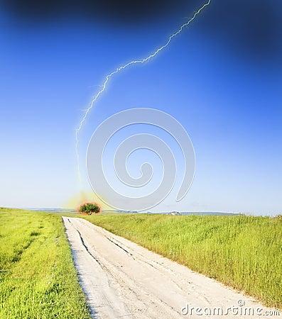 Road amongst green meadow