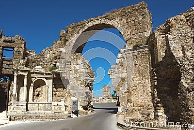 Road and ancient ruins