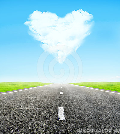 Free Road And Cloudy Heart In Sky Royalty Free Stock Photography - 24606627