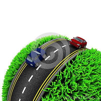 Free Road Around A Grassy Globe Royalty Free Stock Photos - 54867668