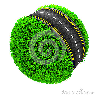 Free Road Around A Grassy Globe Stock Photo - 54867900