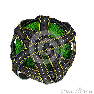 Free Road Around A Grassy Globe Stock Images - 55320564